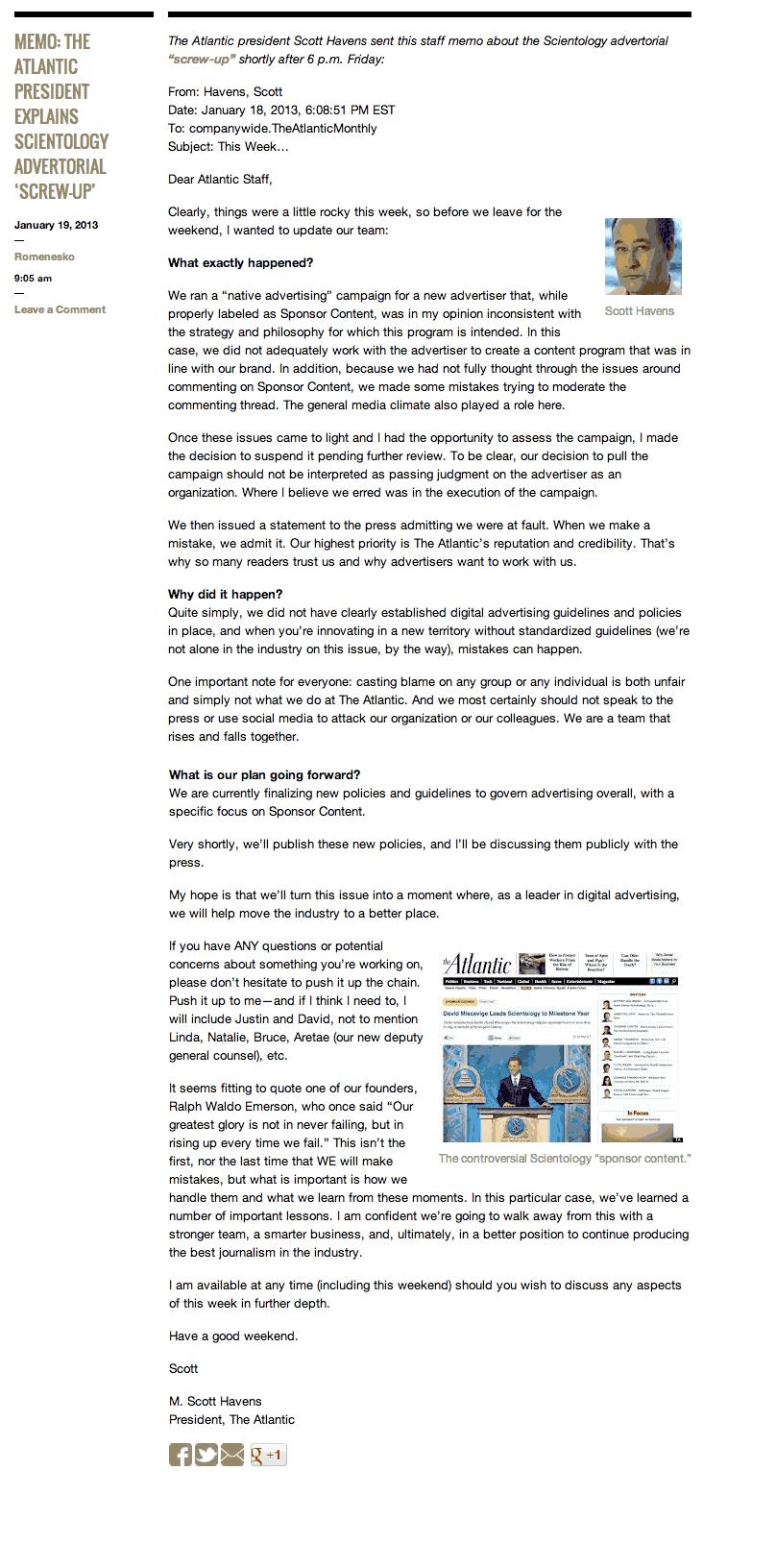 Atlantic president Scott Havens memo on Scientology